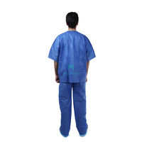 Disposable Hospital Doctors Patient Uniform Medical V-Neck Scrub Suit