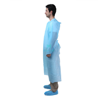 Blue Laboratory Disposable Isolation CPE Gown with Thumb Loop