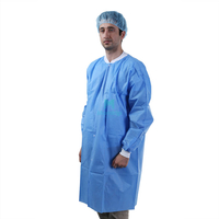 Morntrip Non Woven Breathable Clean Room Disposable Doctor Lab Coat with Snap Closure