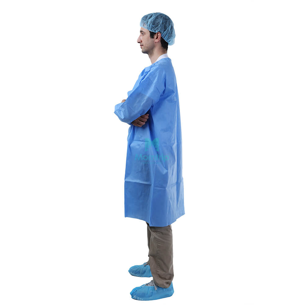 Blue Hospital Waterproof Barrier Disposable Lab Coat with Snap Closure