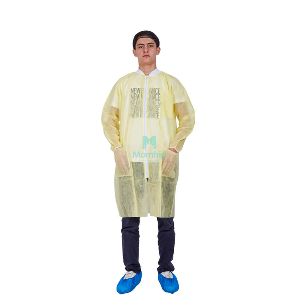 Non Woven Wholesale Level 2 Protective Disposable Blue Lab Coat with Zipper Closure
