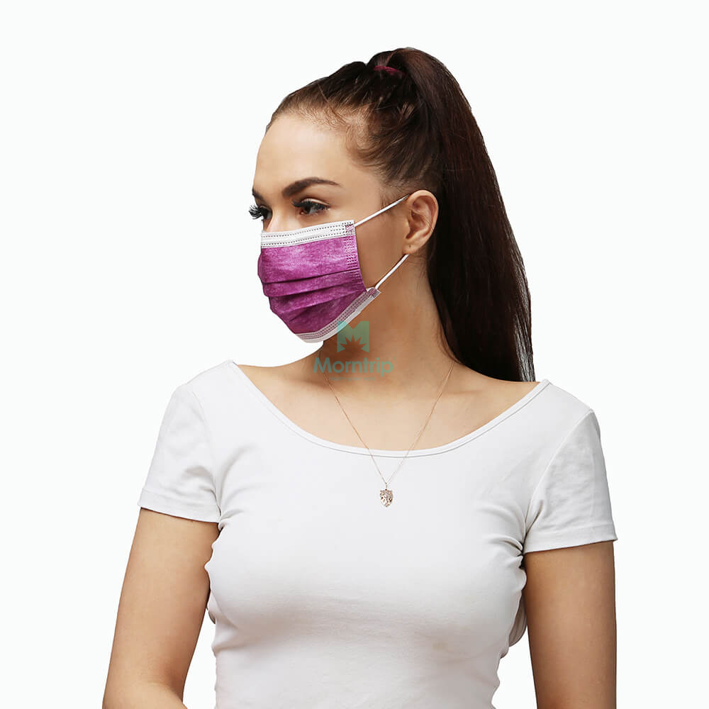 Purple 3 Ply Non Woven Non Medical Disposable Earloop Protective Face Mask