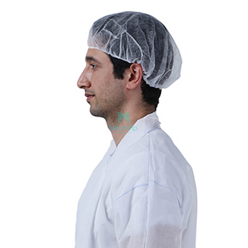 Polypropylene Medical Disposable Non Woven Pleated White Bouffant Caps