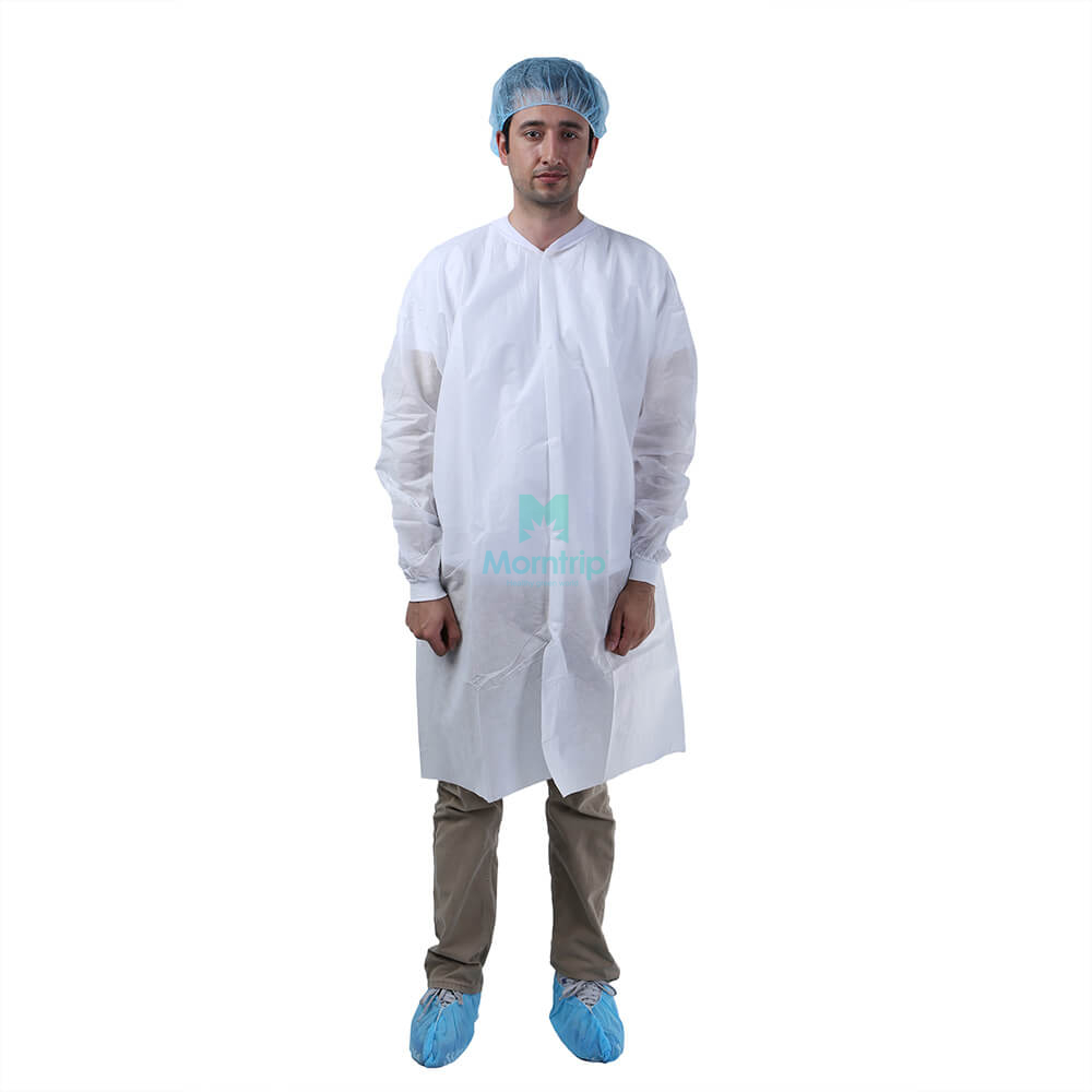 Morntrip Non Woven Dental Lightweight Anti Static Disposable Lab Coat with Velcro Closure