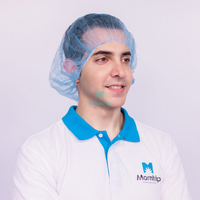 Morntrip Brand New Blue PP Non Woven Anti Hair Fall Cover Elastic Disposable Bouffant Cap for Medical Use