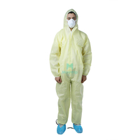 Yellow Disposable Non Woven Hooded Protective Clothing