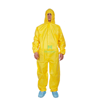 Yellow Lightweight Microporous Non Woven Disposable Waterproof Chemical Coverall