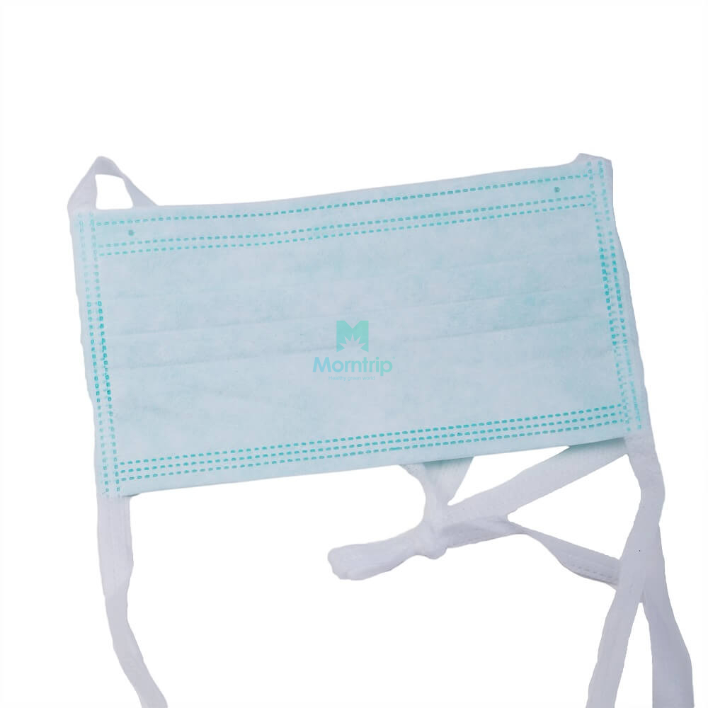 Light Blue Hypoallergenic Non Woven Disposable Surgical Mask With Ties